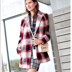 Madewell Depot Cocoon Red White Plaid Wool Coat